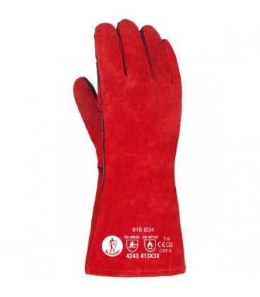 Guante soldador rojo